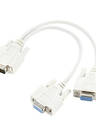 cheap -VGA SVGA 15 PIN Male to Dual 2 Female Monitor Adapter Y Splitter Cable Cord