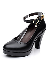 Women's Heels Basic Pump Formal Shoes Spring Fall Real Leather Casual Dress Party & Evening Office & Career Rivet Buckle Chunky Heel