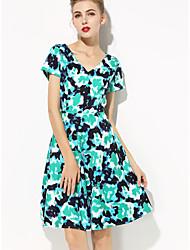 SHE'SWomen's Work Sophisticated Shift DressFloral Round Neck Knee-length Short Sleeve Polyester Summer Mid Rise Inelastic Thin