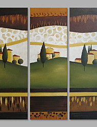 cheap -IARTS® Abstract Oil Painting Lovely Countryside Landscape Set of 3 with Stretched Frame Painting For Home Decoration Ready To Hang
