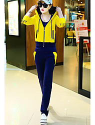 Women's Casual/Daily Simple Spring Fall Hoodie Pant Suits,Color Block Cartoon Hooded Long Sleeve