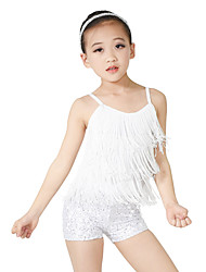 cheap -Kids' Dancewear Outfits Women's Children's Performance Polyester Spandex Sequined Sequin Paillette Tassel Sleeveless Natural Top Headwear