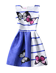cheap -Girl's Daily School Floral Dress, Polyester Summer Sleeveless Vintage Blue