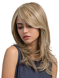 cheap -Enchanting Oblique Fringe Natural Wave Long Hair Synthetic Wigs