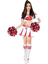 Cheerleader Costumes Outfits Women's Performance Polyester Splicing Pattern/Print 2 Pieces Short Sleeve High Skirts Tops