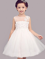 cheap -Princess Knee Length Flower Girl Dress - Polyster Sleeveless Jewel Neck by Bflower