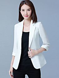 cheap -Women's Office & Career Work Formal Work Spring Summer Fall Solid Simple Shawl Lapel 3/4 Length Sleeve Regular Polyester