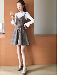 Women's Casual/Daily Simple Winter T-shirt Dress Suits,Plaid/Check Round Neck Long Sleeve Inelastic
