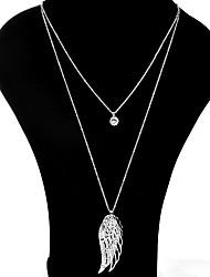 Femme Pendentif de collier Colliers chaînes Collier multi rangs Strass Ailes / Plume Strass Alliage Original Pendant Stras Amitié Mode