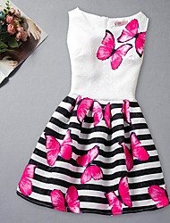 baratos -Menina de Vestido Listrado Sem Manga Listras Azul Rosa