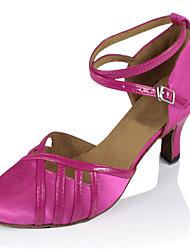 "cheap -Women's Modern Silk Sandal Performance Buckle Cuban Heel Gold Fuchsia 2"" - 2 3/4"" Customizable"