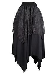 Shaperdiva Black Elastic Gothic Irregular Long Lace Steampunk Skirts