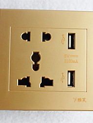 Type 86  USB*2 Power Outlet 2 Bit 3 Bit Golden