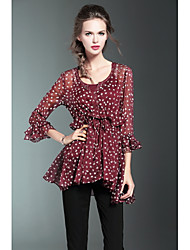 BURDULLY Women's Going out Casual/Daily Simple Cute Summer BlousePrint Round Neck 3/4 Length Sleeve Others Thin