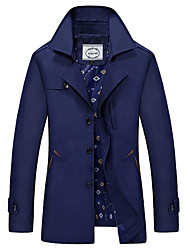 Men's Casual/Daily Simple Winter Trench Coat,Solid Shirt Collar Long Sleeve Long Cotton