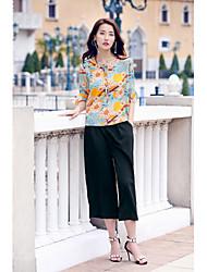 Feminino Blusa Calça Conjuntos Festa de aniversário Para Noite Casual Casual Férias Fashion Primavera Verão,Sólido Floral FrufruDecote
