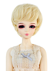 Synthetic Doll Accessories Short Wavy Light Blonde Color Hair for 1/3 1/4 Bjd SD DZ MSD Doll Costume Wig Not for Human Adult