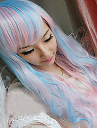 Two Ponytails Wavy Ponytail Clip Wig Synthetic Hair Heat Resistant Mixed Color Cosplay Wigs for Woman Blue Pink Wig