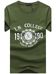 cheap -Men's Plus Size Cotton T-shirt - Solid Colored Print Round Neck