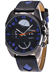 Disu Men's Sport Watch Military Watch Fashion Wristwatch Unique Creative Casual Watches Quartz Leather Calendar Hodinky Hours Relogio Masculino