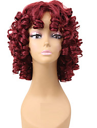 cheap -Popular Red Color Wig For Black Women Curly Synthetic European Women Wig