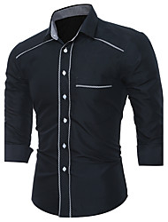 cheap -Men's Party Street chic Cotton Slim Shirt - Solid Colored Color Block Classic Classic Novelty Stylish Patchwork