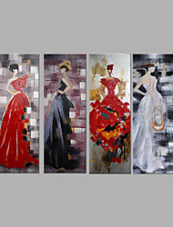 cheap -IARTS® Hand Painted Oil Painting Set of 4 Lady in Evening Dinner Dress Wall Art Acrylic Canvas Wall Art For Home Decoration