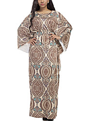Women's National Plus Size Print Round Neck Beach Boho Maxi Long Sleeve High Rise Loose Dress