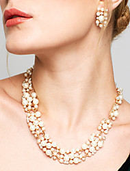 cheap -Women's Jewelry Set - Pearl, Rhinestone European, Fashion, Elegant Include Drop Earrings / Pearl Necklace White / Coffee For Wedding / Party / Daily