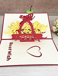 Pli Parallèle Horizontal Invitations de mariage Merci Cartes ensembles de Faire-Part Style artistique Style floral Papier gaufré Fleurs