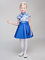 cheap -Princess Short / Mini Flower Girl Dress - Satin Chiffon Sleeveless High Neck with Lace by Embroidered Bridal