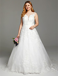 A-Line Plunging Neckline Court Train Lace Tulle Wedding Dress with Appliques Buttons Sashes/ Ribbons by LAN TING BRIDE®