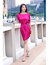 AGD Women's Going out Casual/Daily Simple A Line DressSolid Scoop Asymmetrical Half Sleeve Polyester Other Spring Summer Mid Rise