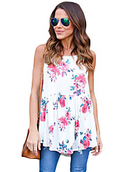 Women's Party/Evening Evening Party Going out Cute Summer Blouse,Print Round Neck Sleeveless Polyester Spandex Medium