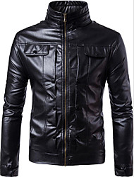 Men's Party Daily Going out Simple Casual Winter Fall Leather Jacket,Solid Round Neck Long Sleeve Regular PU