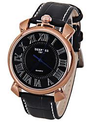 baratos -Homens Relógio de Pulso Japanês Relógio Casual Couro Banda Brilhante / Vintage / Fashion Preta / Marrom / SSUO LR626