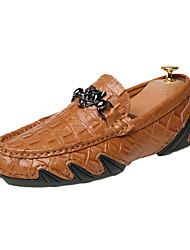 preiswerte -Herrn Schuhe Schweineleder Leder Sommer Herbst Komfort Loafers & Slip-Ons Walking Kombination Geflochtene Riemchen für Normal Schwarz