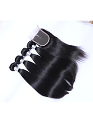 cheap -Short Size 4 pcs 400g 100% Unprocessed Natural Black Straight Brazilian Remy Human Hair Wefts with 1Pcs 4x4 Lace Top Closures Human Hair Extensions