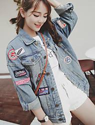Women's Daily Modern/Comtemporary Fall Denim Jacket,Print Letter Shirt Collar Long Sleeve Regular Others