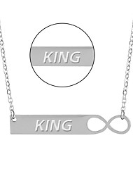 cheap -Titanium necklace creative geometry can smooth stainless steel jewelry necklace green lettering