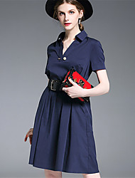 Women's Party Going out Casual/Daily Sexy Simple Street chic Sheath Dress,Solid Shirt Collar Above Knee Short Sleeve Cotton BlendSummer