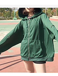 Women's Daily Tops Hoodie Solid Oversized Hooded Fleece Lining Micro-elastic Polyester 100%Cotton Long Sleeve Spring Fall