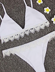 2017 Newest Bikini Sets Women's Bikini White Prue Color Bikini Sets With White Lace  Swimming Suits