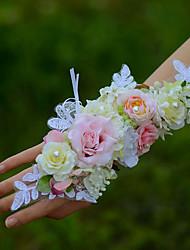 abordables -Fleurs de mariage Petit bouquet de fleurs au poignet Mariage Coton 5cm