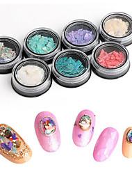 pinpai 7pcs nail art décoration strass perles conception cosmétique abalone shell fragments manchée autocollant