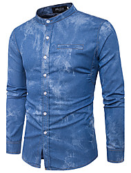 cheap -Men's Daily Street chic Shirt Stand Long Sleeves Polyester