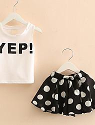 Недорогие -Для девочек Наборы Хлопок Мода Горох Лето Без рукавов Набор одежды