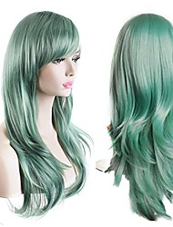 cheap -Women's Heat Resistant 70cm Long Curly Hair Wig with Wig Cap Wave New Green Color Heat Resistant Wig
