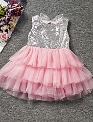cheap -Girl's Patchwork Dress,Cotton Polyester Summer Sleeveless Lace Blushing Pink Yellow