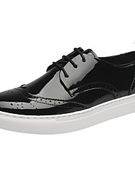 Men's Sneakers Comfort Fall Winter PU Casual Outdoor Flat Heel White Black Under 1in
